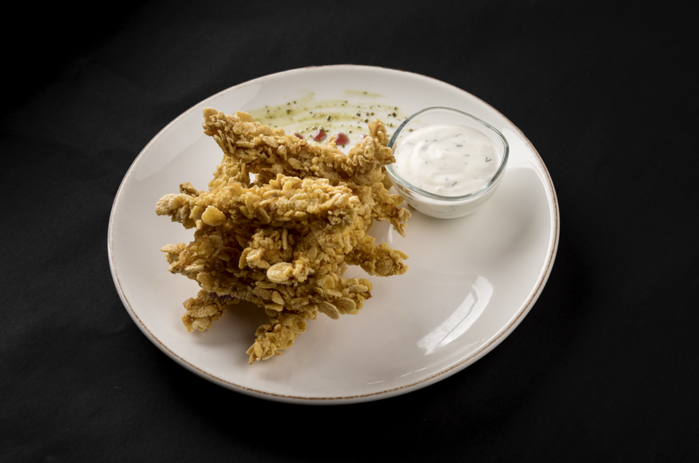 Chicken nuggets with corn flakes photo