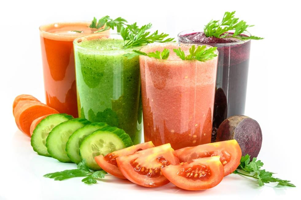 Collection of vegetable-based juices