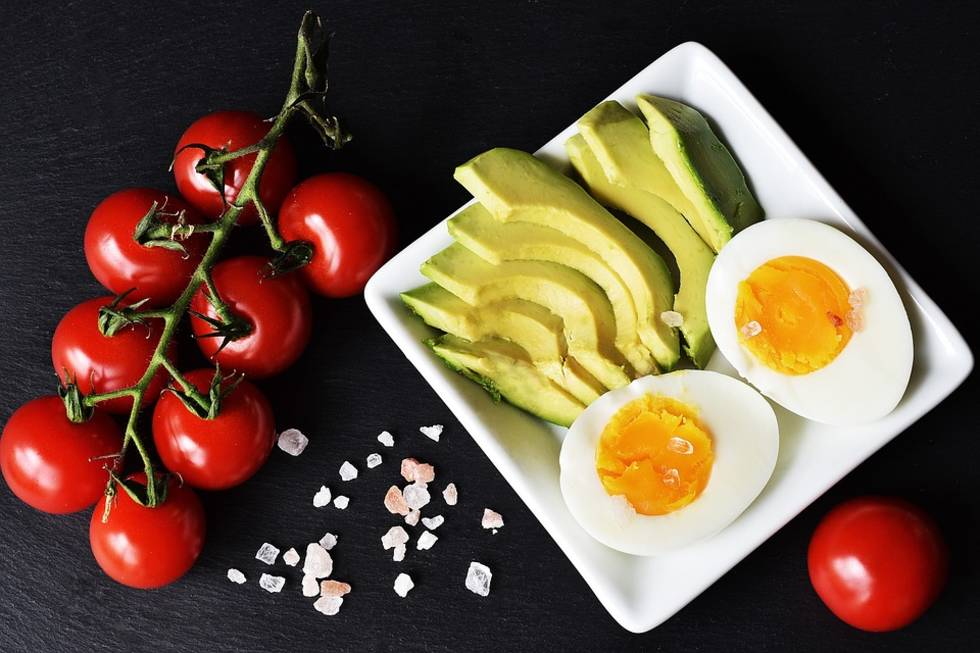 Eggs, avocado and tomatoes