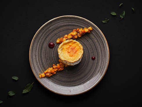 Caramelized French goat cheese photo