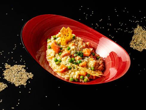 Lemon risotto with salmon photo