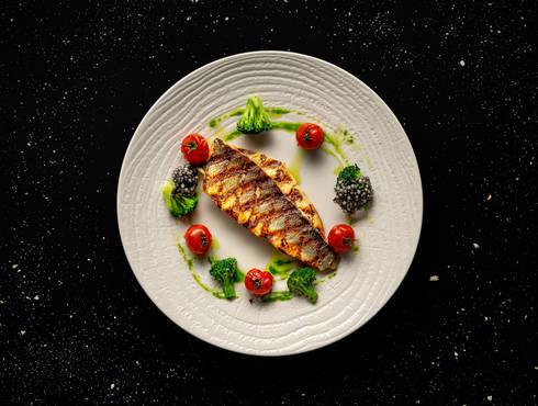 Sea bass fillet with crispy broccoli photo