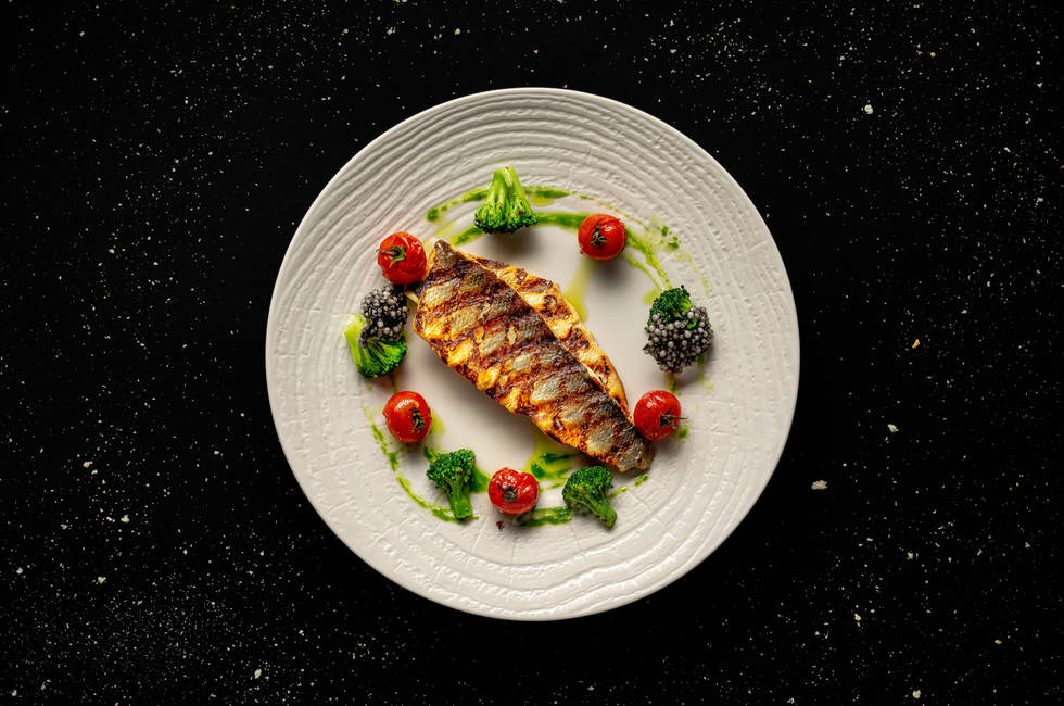 Sea bass fillet with crispy broccoli photo
