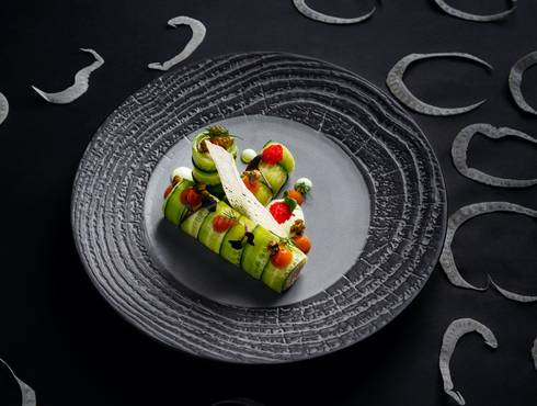 Cucumber roll with salmon mousse photo