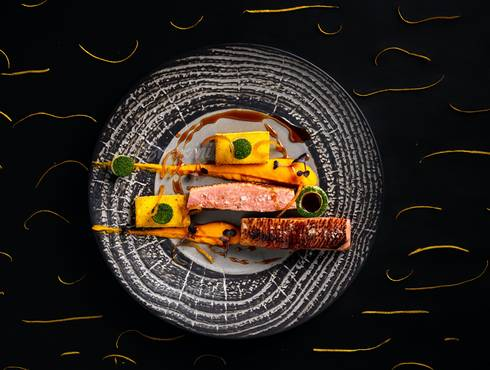 Duck magret with carrot purée photo